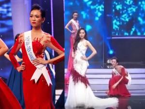 Người đẹp Tiền Giang hốt hoảng vì ngã trên sàn diễn