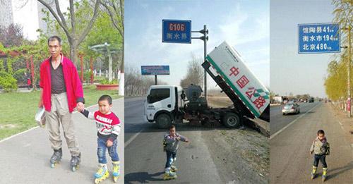 Cha dẫn con 4 tuổi trượt patin 540km để... dạy cách sống - 1