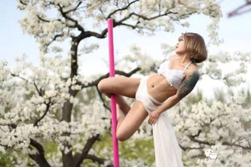 Thiếu nữ  ăn mặc hở hang múa cột giữa rừng hoa lê - 1