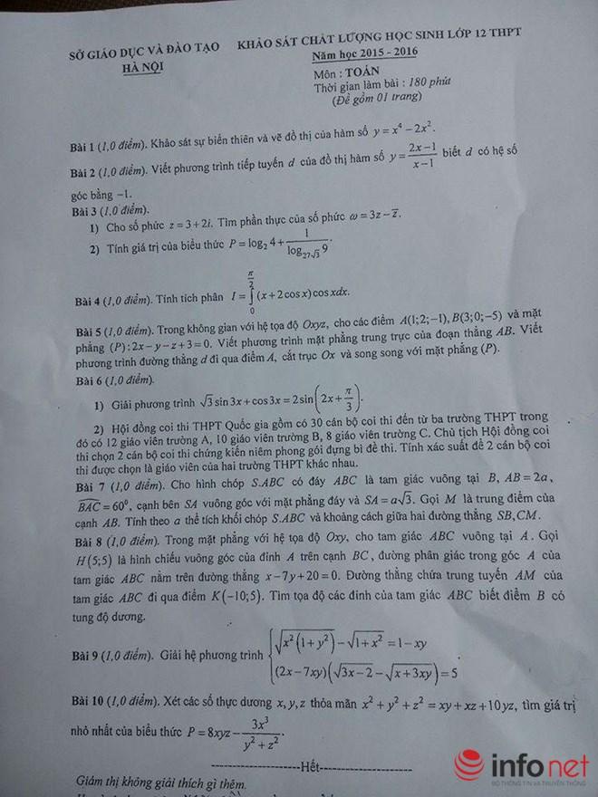 Hà Nội: Đề thi thử môn Toán kỳ thi THPT quốc gia - 1