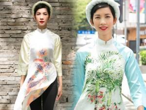 Xuân Lan diện áo dài gây chú ý trên phố Thượng Hải