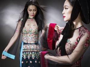 Linh Nga diện áo dài mỏng manh, xuyên thấu