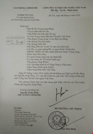 Giới thiệu chữ ký của Thủ tướng và 3 Phó Thủ tướng - 1