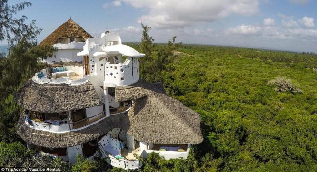 Ngôi nhà được thiết kế độc đáo giống trong những câu chuyện cổ tích với mái rạ và tường đất, nằm giữa rừng cây um tùm.