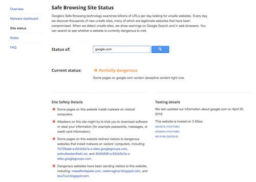 Tên miền google.com bị cảnh báo nguy hiểm - 1