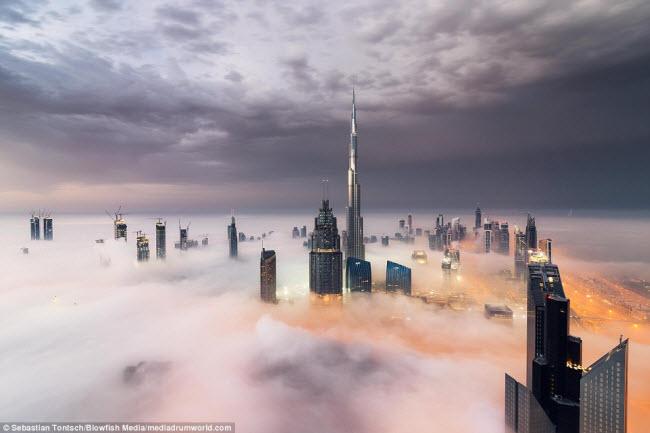 Nhiếp ảnh gia Sebastian Tontsch, 27 tuổi, đã lên đỉnh một tòa tháp cao 90 tầng tại Dubai để ghi lại cảnh tượng những tòa nhà chọc trời nhấp nhô trong màn sương sớm tại thành phố này.