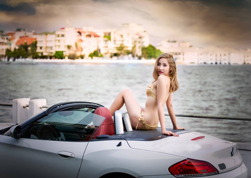 Thiếu nữ Hà thành mướt mát tạo dáng bên hồ bơi - 4