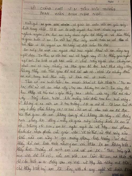 Trường có 3 HS bị đuổi học từng có nữ sinh viết tâm thư đòi tự tử - 1