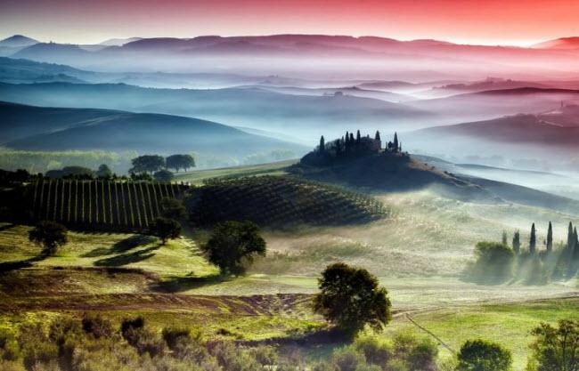 Vùng Toscana ở Italia nổi tiếng với thung lũng xanh mướt, biệt thự cổ, cánh đồng nho và những món ăn hấp dẫn.