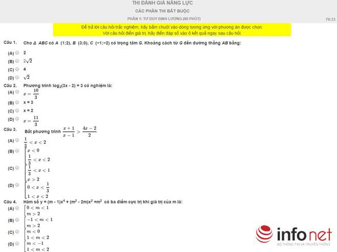 Bài thi thử phần Tư duy định lượng kỳ thi đánh giá năng lực - 1