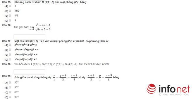 Bài thi thử phần Tư duy định lượng kỳ thi đánh giá năng lực - 5