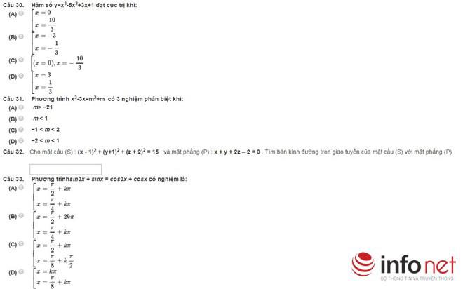 Bài thi thử phần Tư duy định lượng kỳ thi đánh giá năng lực - 6