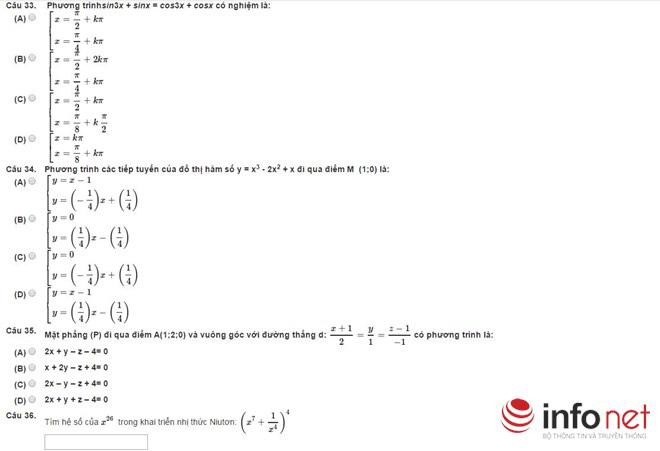 Bài thi thử phần Tư duy định lượng kỳ thi đánh giá năng lực - 7