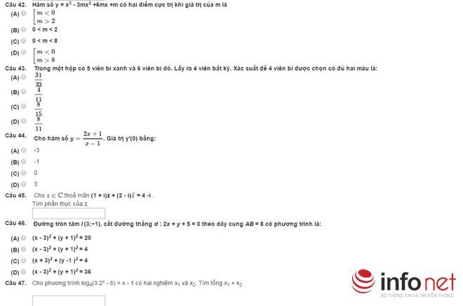 Bài thi thử phần Tư duy định lượng kỳ thi đánh giá năng lực - 9