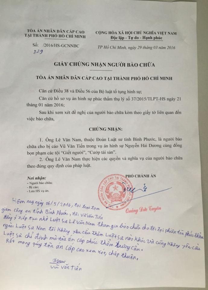 """Thảm sát ở Bình Phước: Vũ Văn Tiến """"chọn"""" luật sư - 2"""