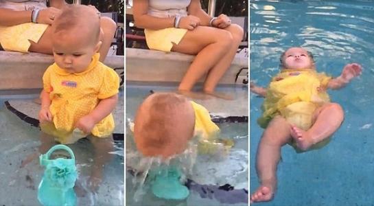 Clip: Bé gái 2 tuổi tự nổi trên mặt nước gây tranh cãi - 1