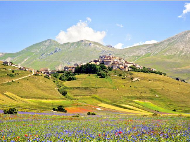 Nằm gần thành phố Norcia tại vùng Umbria ở Italia, thị trấn nhỏ Castellucio di Norcia nổi tiếng với những cánh đồng hoa rực rỡ sắc màu vào khoảng thời gian cuối tháng 5 và đầu tháng 6.