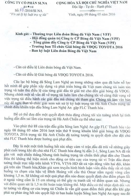 """SLNA đòi """"đuổi"""" vĩnh viễn trọng tài Hà Anh Chiến - 2"""