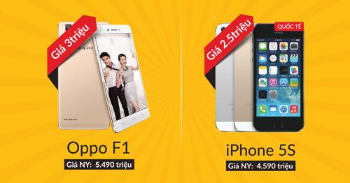 Xả kho smartphone - OPPO F1 3 triệu, iPhone 5S 2.5 triệu đồng - 1