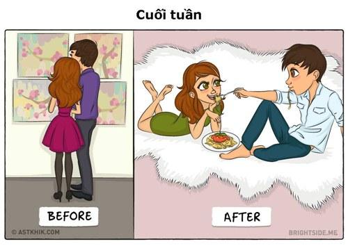 Hành động khác biệt giữa các đôi trước và sau khi cưới - 1