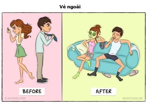 Hành động khác biệt giữa các đôi trước và sau khi cưới - 5