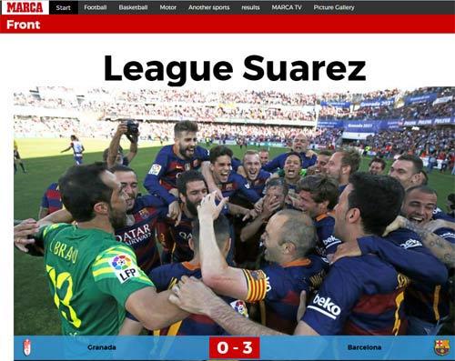 """Barca vô địch, báo chí thán phục Suarez, """"lơ"""" Messi - 1"""