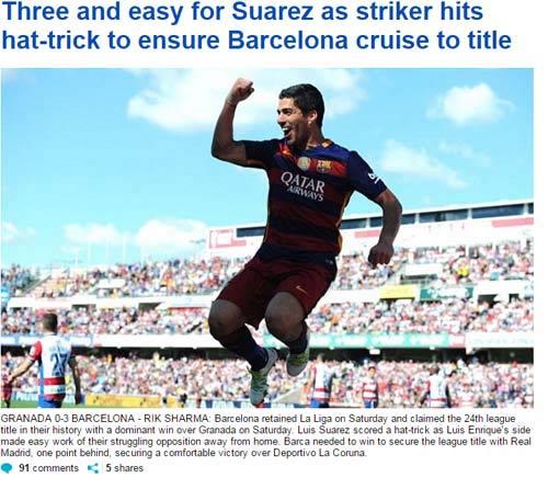 """Barca vô địch, báo chí thán phục Suarez, """"lơ"""" Messi - 3"""