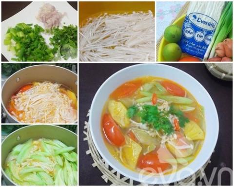Bữa cơm ngon lành với cá thu sốt dưa, canh nấm nấu chua - 3