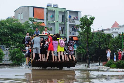 Ngộ nghĩnh cảnh người HN chèo thuyền, bắt cá trên phố - 7