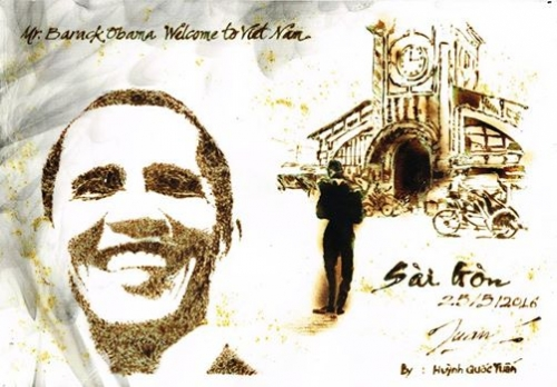 9X dùng giấy đốt vẽ tranh tặng Tổng thống Obama - 1