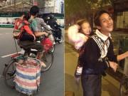 Hình ảnh cha địu con nhặt rác khiến dân mạng thổn thức