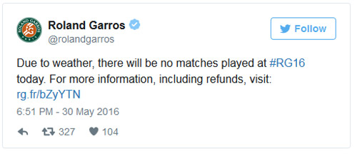 Roland Garros ngày 9: Hủy bỏ tất cả các trận - 1