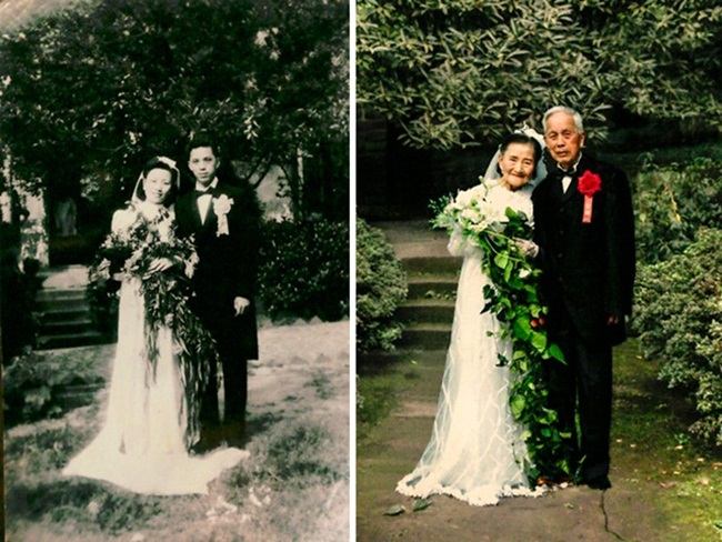 Con người có thể già đi nhưng tình yêu thì không. Khi tìm được tình yêu đích thực của cuộc đời, tìm được một nửa gắn bó với mình dù có khó khăn hay hạnh phúc, tình yêu sẽ tồn tại mãi mãi, không bao giờ già cỗi. Trong ảnh là cặp đôi người Trung Quốc, họ đã ở bên nhau tròn 70 năm. Vào lần kỷ niệm ngày cưới thứ 70, cặp đôi đã chụp ảnh cưới một lần nữa.   