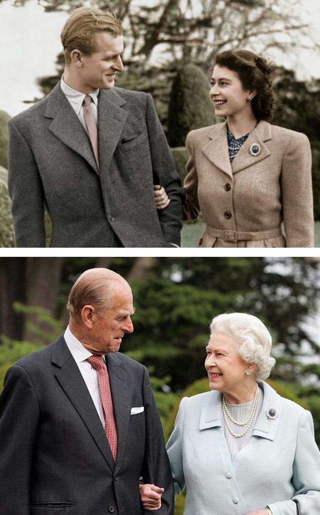 Bức ảnh nữ hoàng Anh Elizabeth và hoàng tử Philip nhìn nhau mỉm cười vào 1947. Sau 60 năm, tình yêu của họ vẫn luôn nồng nàn.