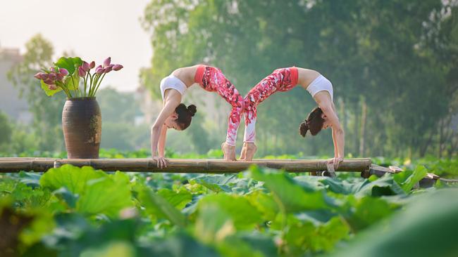 Cả hai diện trang phục thoải mái, thực hiện những tư thế yoga đẹp mắt. & nbsp;
