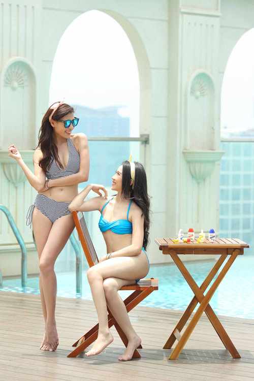 Ngắm Thúy Diễm, Hồng Loan khoe dáng cùng bikini - 9