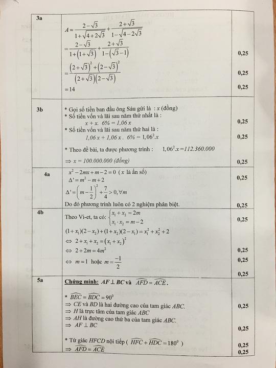 TP HCM công bố đáp án đề thi tuyển sinh lớp 10 - 5