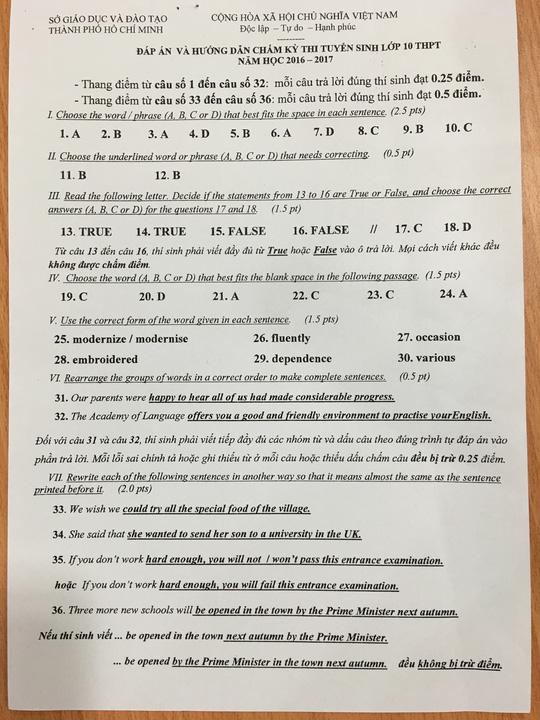 TP HCM công bố đáp án đề thi tuyển sinh lớp 10 - 8