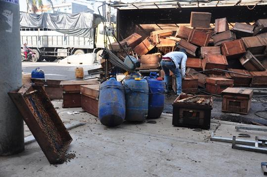 Xe tải chở ong lật, ong đốt nhiều người đi đường - 2