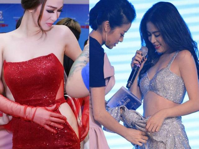 Rách váy, tuột áo khi diễn: Hoàng Thùy Linh và mỹ nhân Việt xử lý gây choáng