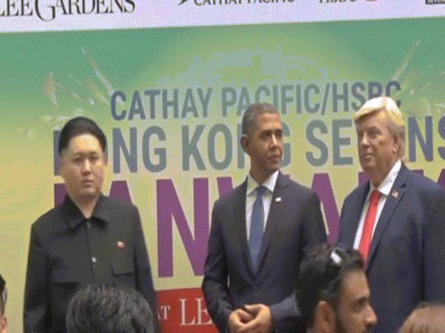 """""""Trump, Obama và Kim Jong-un"""" gây náo loạn Hồng Kông"""