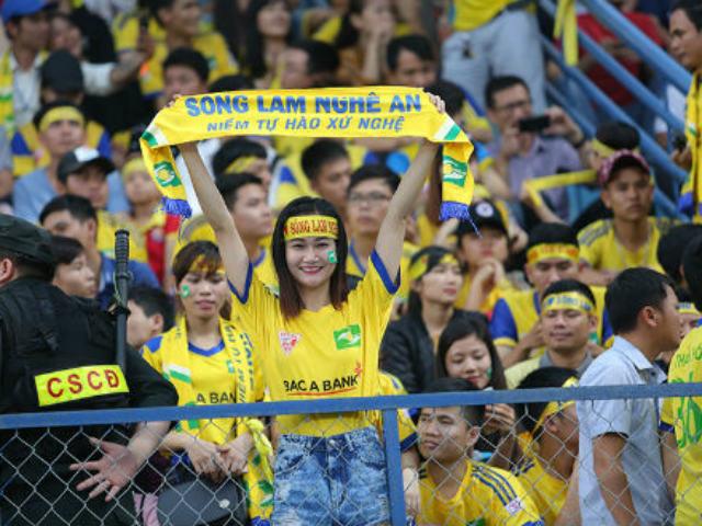 Hàng ngàn fan nữ xinh SLNA tiếp lửa