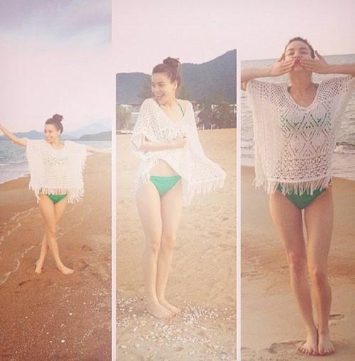 """Hà Hồ diện bikini, maxi đẹp nõn nà bên biển """"đáp trả"""" Cường Đôla? - 6"""