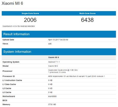 """Xiaomi Mi 6 """"vượt mặt"""" Galaxy S8 trên bài kiểm tra hiệu năng Geekbench - 1"""