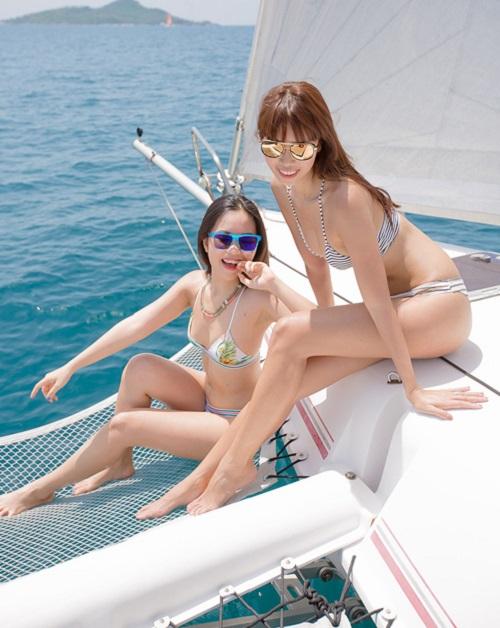 Em gái Hà Anh mặc bikini bé xíu đẹp át chị trên du thuyền triệu USD - 1