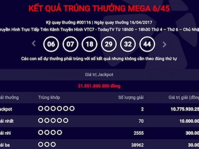 """Xổ số Vietlott: Lại có 2 người chia nhau giải jackpot """"khủng"""""""