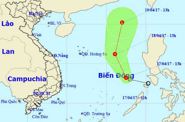 Áp thấp nhiệt đới giật cấp 7-8, áp sát quần đảo Trường Sa - 1