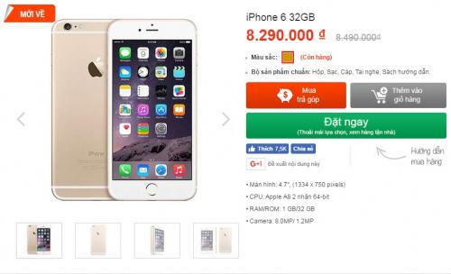 iPhone 6 32GB chính hãng rớt giá sâu, chỉ còn hơn 8 triệu đồng - 1