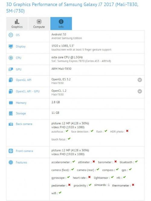 Galaxy J7 (2017) tiếp tục lộ cấu hình trên GFX Bench - 1