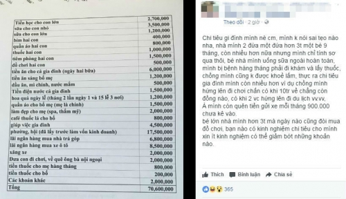Tranh cãi chuyện gia đình 4 người tiêu hết 70 triệu /tháng - 1